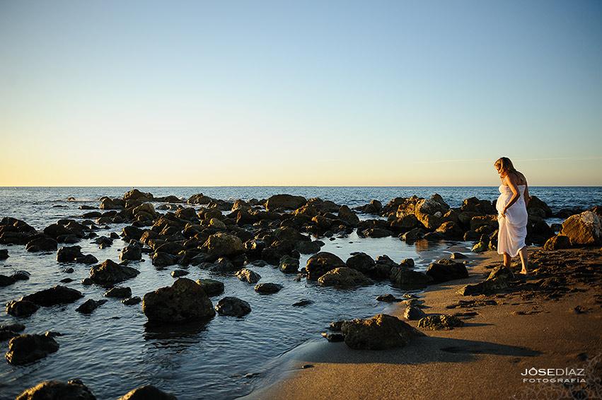 sesión fotográfica de premamá, fotos en la playa